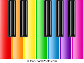 The keyboard of the classical piano with rainbow keys