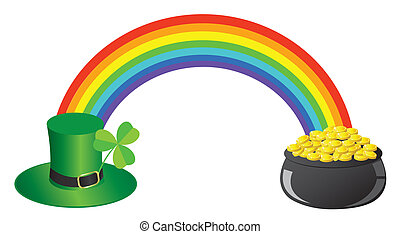 Rainbow - vector rainbow, hat, pot with gold