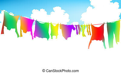 Rainbow clothes - Editable vector illustration of colorful ...