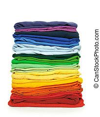 Rainbow clothes pile