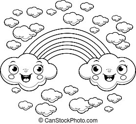 Rainbow cloud characters. Vector illustration of a rainbow and ...