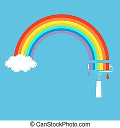 Rainbow cloud in the sky and paint roller with drops. Dash line.
