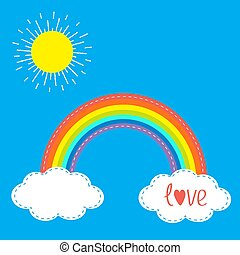 Rainbow clouds and sun in the sky. Dash line. Love card. Flat design.