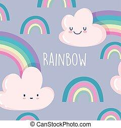 rainbow clouds cartoon decoration season design