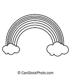 rainbow clouds emblem st patrick day outline