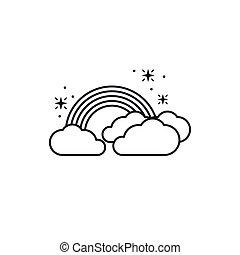 rainbow clouds fantasy line design