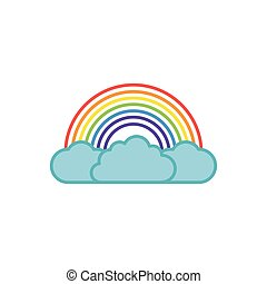 rainbow clouds fantasy line fill style