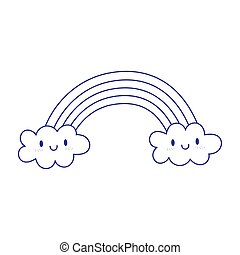 rainbow clouds fantasy magic cartoon icon design white background line style