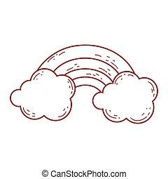 rainbow clouds fantasy magic cartoon isolated icon design line style