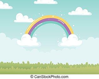 rainbow clouds sky field nature cartoon decoration