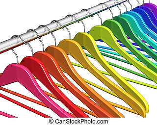 Row of color rainbow coat hangers on metal shiny clothes rail isolated on white background