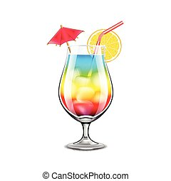 Rainbow cocktail isolated on white vector