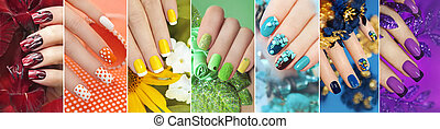 Rainbow collection of nail designs.