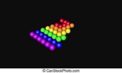 Rainbow Color Balls Loop Moving, 3D Rendering
