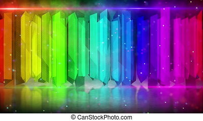 rainbow color elements. computer generated abstract loopable motion blue background HD 1080p.