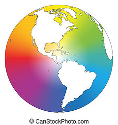 Rainbow Color Gradient Earth White