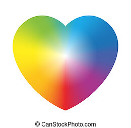Rainbow Color Gradient Heart White