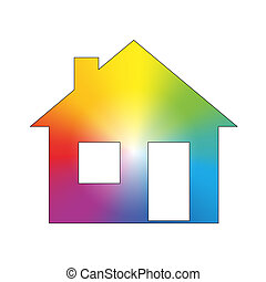 Rainbow Color Gradient House White