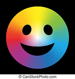 Rainbow Color Gradient Smiley Black