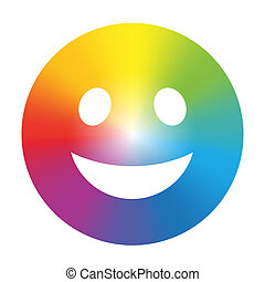 Rainbow Color Gradient Smiley White