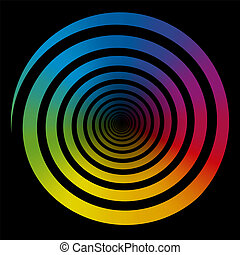 Rainbow Color Gradient Spiral Black