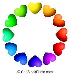 Rainbow color hearts arranged in a circle