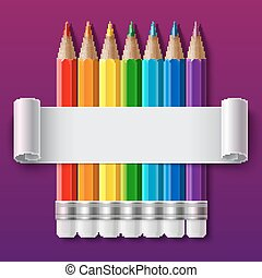 Rainbow color pencils and curled paper sheet with realistic...