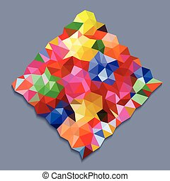 Rainbow color triangles in square shape on gray background