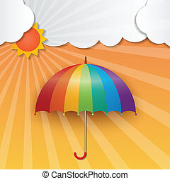 sunny sky background - rainbow color umbrella and sun on...