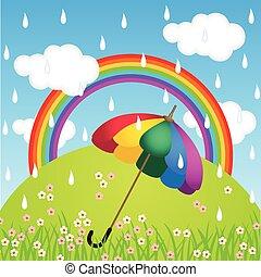 Rainbow color umbrella in raining - Scalable vectorial image...