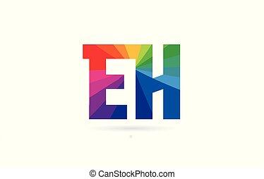 rainbow colored alphabet combination letter eh e h logo...