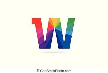 rainbow colored alphabet letter w logo design
