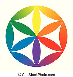 Rainbow colored baby Flower of Life