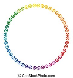 Rainbow colored Celtic double spirals forming a circle shaped frame