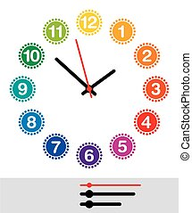 Rainbow colored clock face with pointers