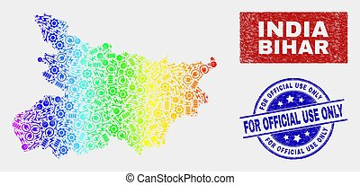 Rainbow Colored Component Bihar State Map and Grunge For Official Use Only Stamp Seals
