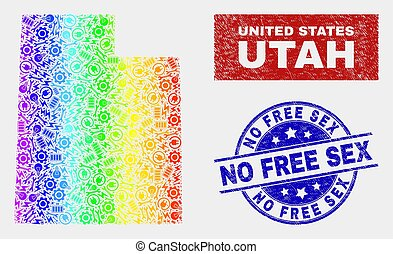 Rainbow Colored Construction Utah State Map and Distress No Free Watermarks
