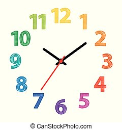 Rainbow colored dial. Clock face with colorful numerals