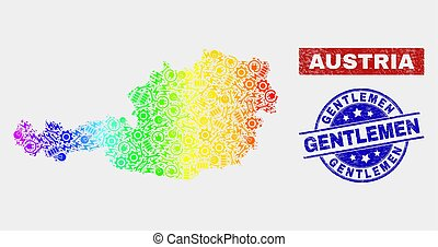 Rainbow Colored Factory Austria Map and Scratched Gentlemen Watermarks