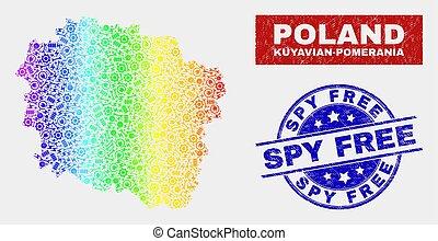 Rainbow Colored Factory Kuyavian-Pomeranian Voivodeship Map and Distress Spy Free Stamp Seals
