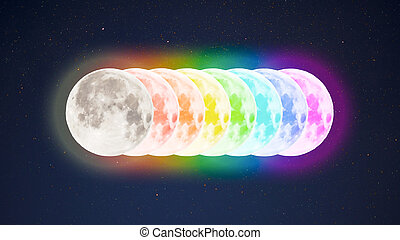 Rainbow colored full moons on starry sky background