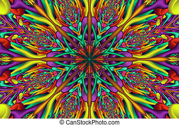 Rainbow colored glossy fractal mandala