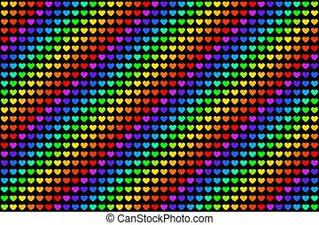 Rainbow colored hearts pattern endless tile