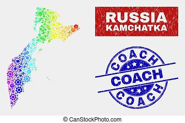 Rainbow Colored Industrial Kamchatka Map and Scratched Coach Stamp Seals
