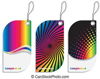Rainbow colored label design set