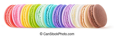 Rainbow colored macaroons in a row isolated on white background