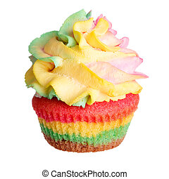 Rainbow colored muffin isolated on white background