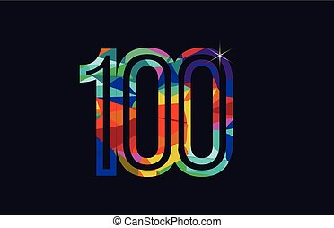rainbow colored number 100 logo company icon design