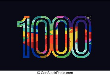 rainbow colored number 1000 logo company icon design