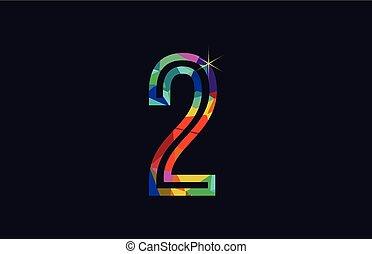rainbow colored number 2 logo company icon design